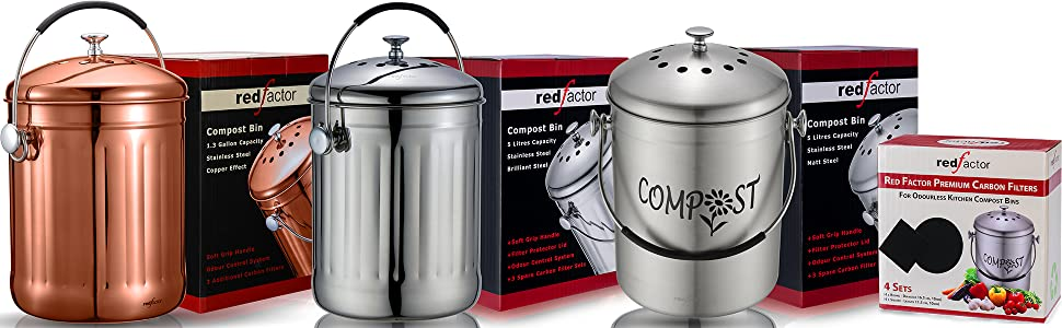 RED FACTOR Kitchen Compost Bins & Filters