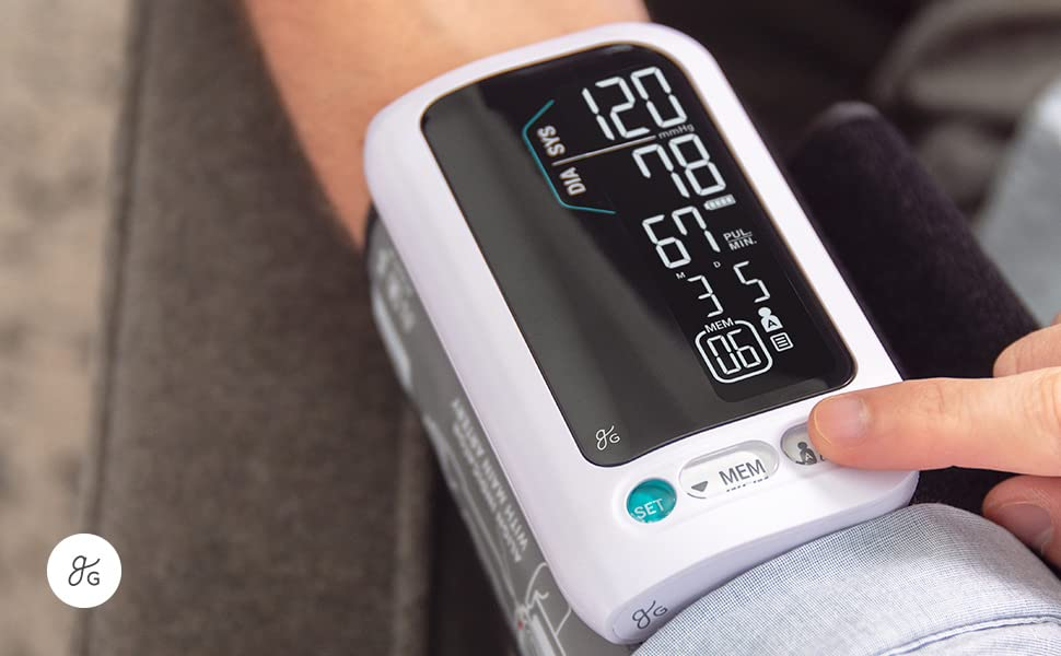 GreaterGoods All-in-One Bluetooth Blood Pressure Monitor, Upper Arm Cuff, Cordless, Wireless