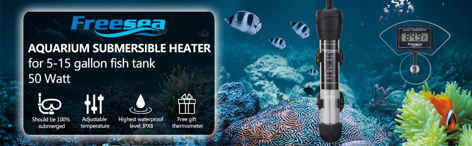 Betta Tank 300 Watt Submersible Mini Adjustable Thermostat with LED Digital Temperature Display for Coral Tank FREESEA Fish Tank Aquarium Heater: 200 Saltwater Tank