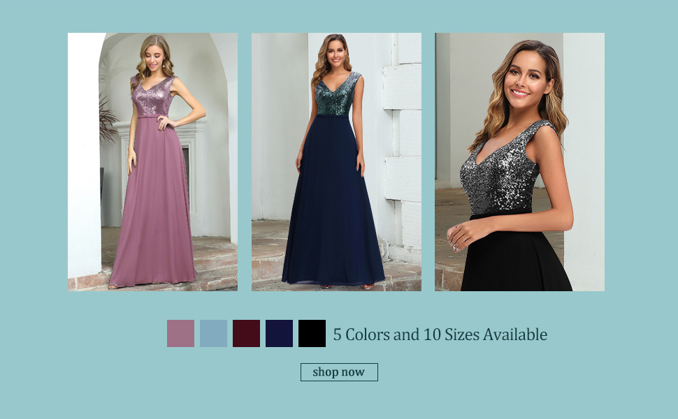 Ever-Pretty A-line Sparkle Sequin Prom Party Gowns for Weddings Chiffon Maxi Wedding Party Dress