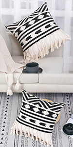 boho pillow cover decorative pillow cover white and black pillow cover