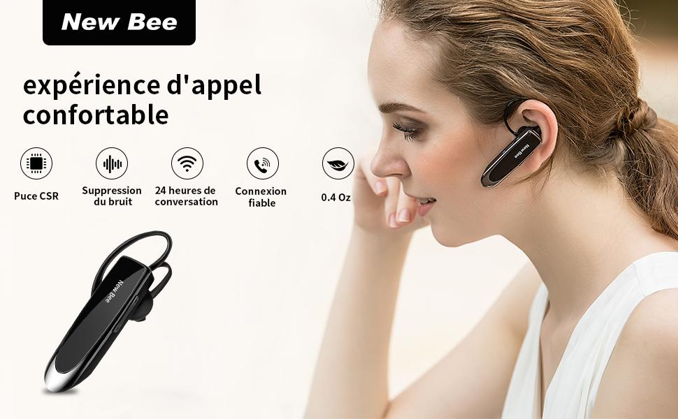 New bee Main Libre Bluetooth Oreillette, Casque sans Fil Bluetooth avec Microphone