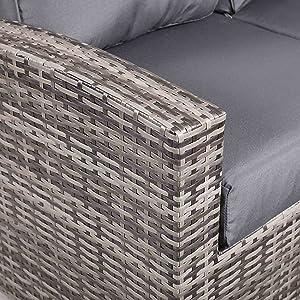 Harmony, Brown Rattan, Contempory, Grey cushions