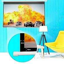 """pantalla motor 180"""" formato 4:3 compatible 16:9, panoramica, ganancia de brillo, gran luminosidad"""