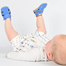 Baby wearing bright blue summer sandals from Dotty Fish, first shoes for baby, summer shoes