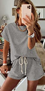 Women Tie Dye Print Pajama Set Short Sleeve Tee and Shorts 2 Piece Outfit Sleepwear Sets Loungewear