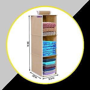 PrettyKrafts Hanging 3 Shelves Wardrobe Organiser - Beige