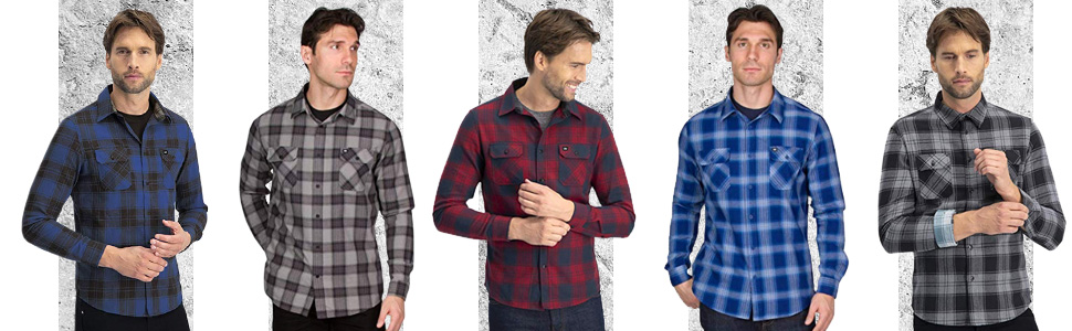 Flannel Shirt for Men Dry Fit Long Sleeve Button Down Moisture Wicking and Stretch Fabric Plaid