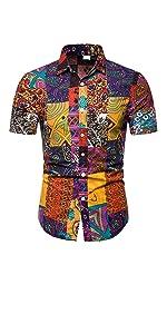 Men's Hawaiian Shirt Flower Casual Button Down Short Sleeve Shirt Floral