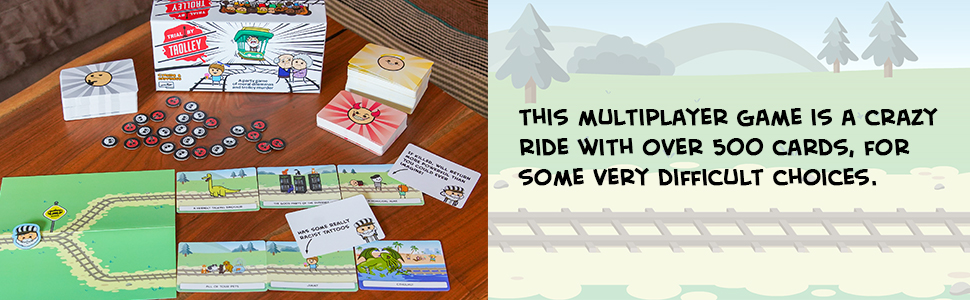 Trial by Trolley card game, board game header and title with photo of contents or inclusions