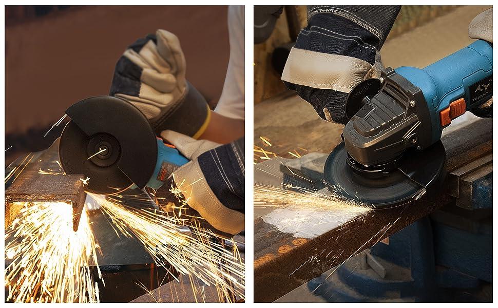 2 x Schruppscheiben,Handgriff Winkelschleifer Tilswall 860W Scheiben-/Ø: 125 mm Schutzabdeckung f/ür Schneiden und Schleifen Sperrschalter 3 xTrennscheiben inkl