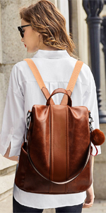 Backpack Anti-theft Leather