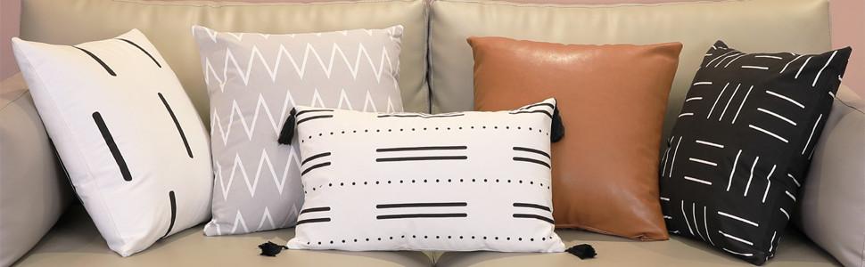 Boho leather pillow set