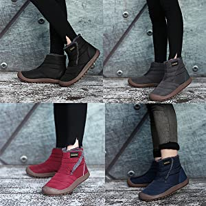 Men Women Fur Lined Snow Boots Outdoor Shoes Ankle Slip on Booties High-Top Outdoor Winter Shoes