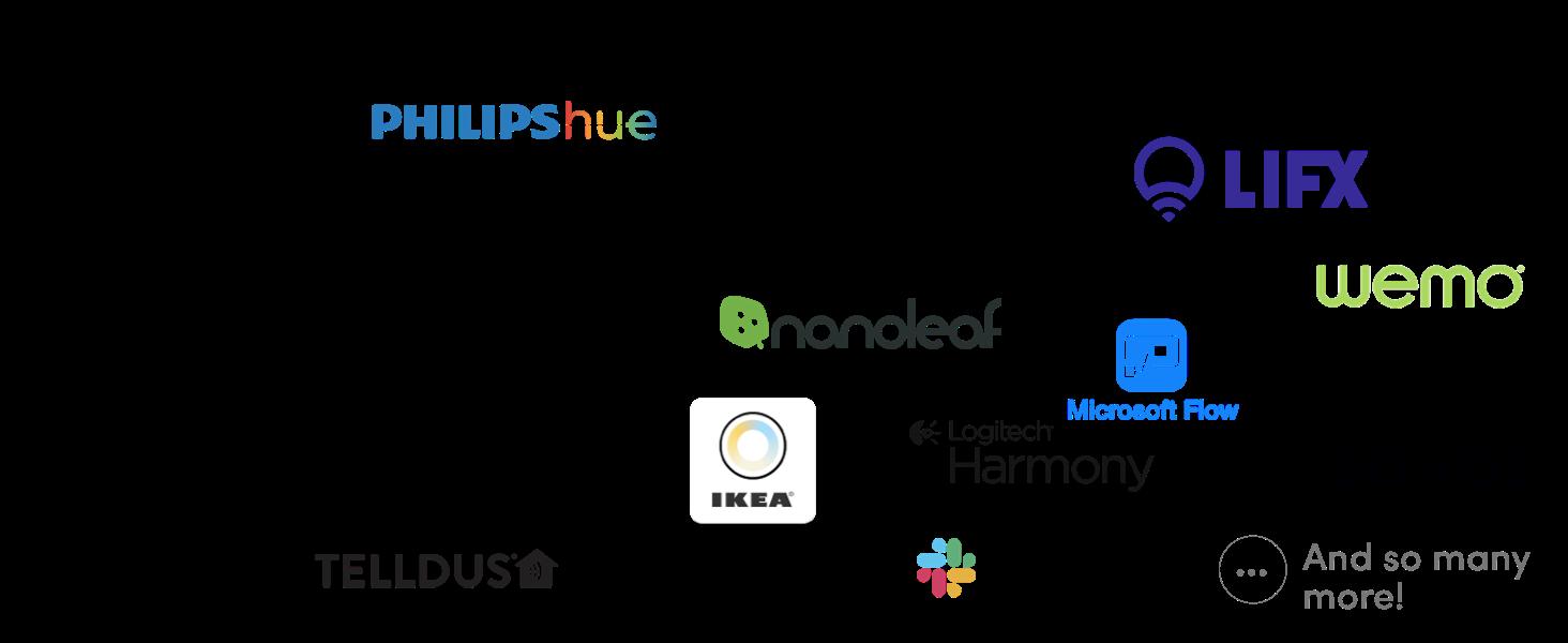 Philips Hue, Lifx, Spotify, Wemo, Google Home, Sonos button