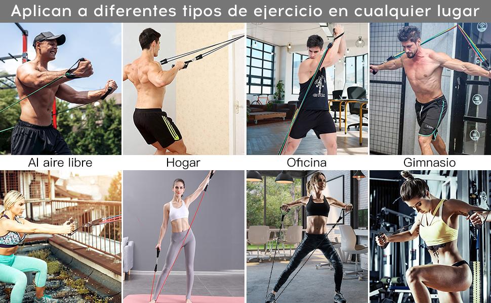 Bandas Elásticas De Resistencia Ejercicio,13 PC Bandas Elasticas Musculacion con 5 Tubos de Látex 100%,4 Mangos de Espumas,Anclaje para Puerta, ...