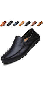 Go Tour Men's Premium Genuine Leather Casual Slip on Loafers Driving Shoes
