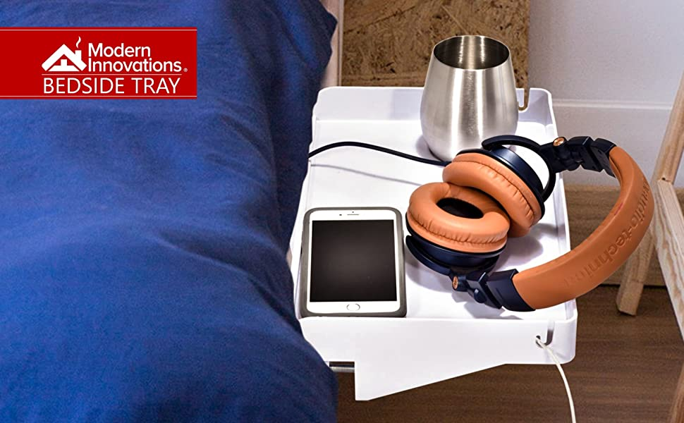 Bedside Shelf for Bed – College Dorm Room Clip On Nightstand with Cup Holder & Cord Holder - Stand