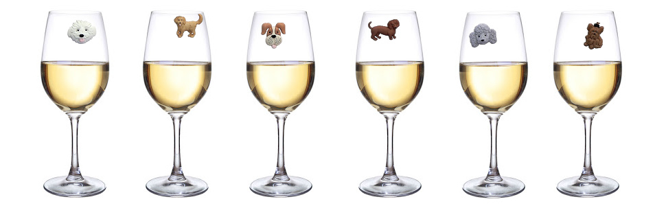 Dog magnetic wine glass charms for regular or stemless glasses.