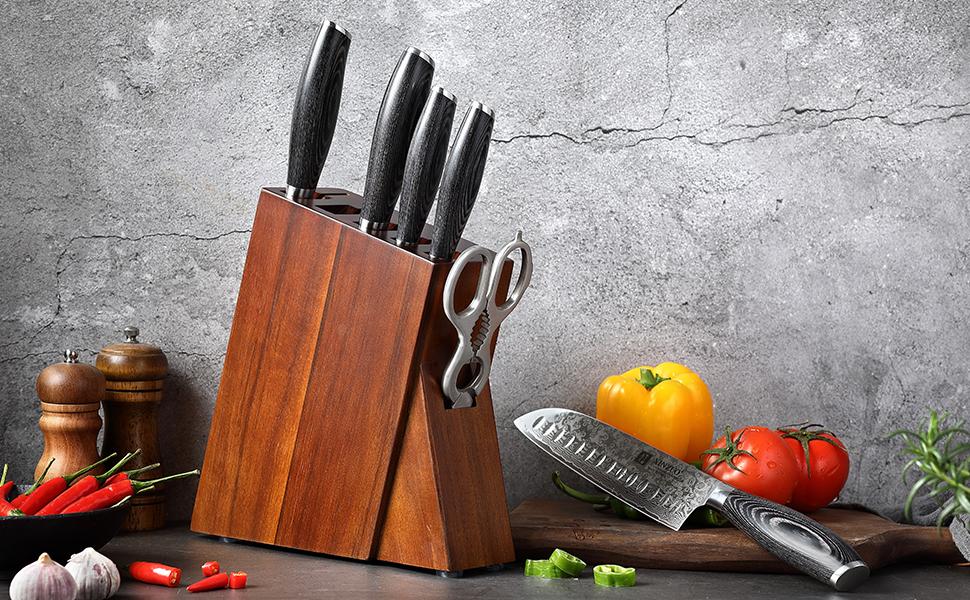 Acier de Damas Série YA 7 Pièces Set Couteaux de Cuisine