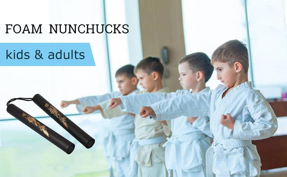 Generp Nunchucks Safe Foam Sponge Training Nunchucks Nunchakus for Kids D/ébutant Pratique et entra/înement avec Sac de Rangement