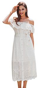 Embroidery Ruffle Dress