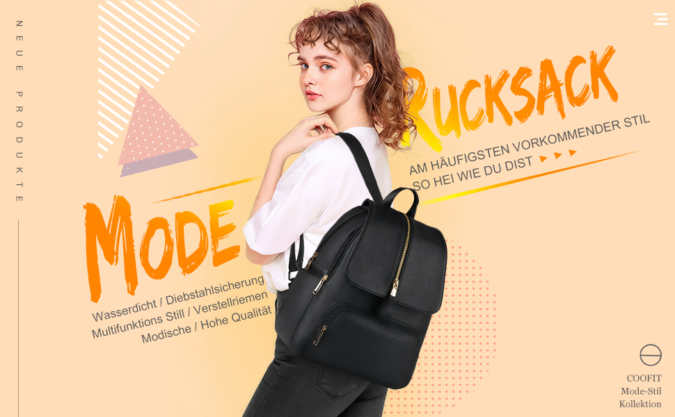 COOFIT Rucksack Damen PU Lederrucksack Damen Rucksack Schwarz Rucksack Tasche Schulranzen