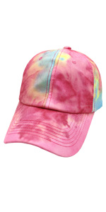 Women's Adjustable tie dye Plain Baseball Cap Vintage Washed Low Profile Dad Hat