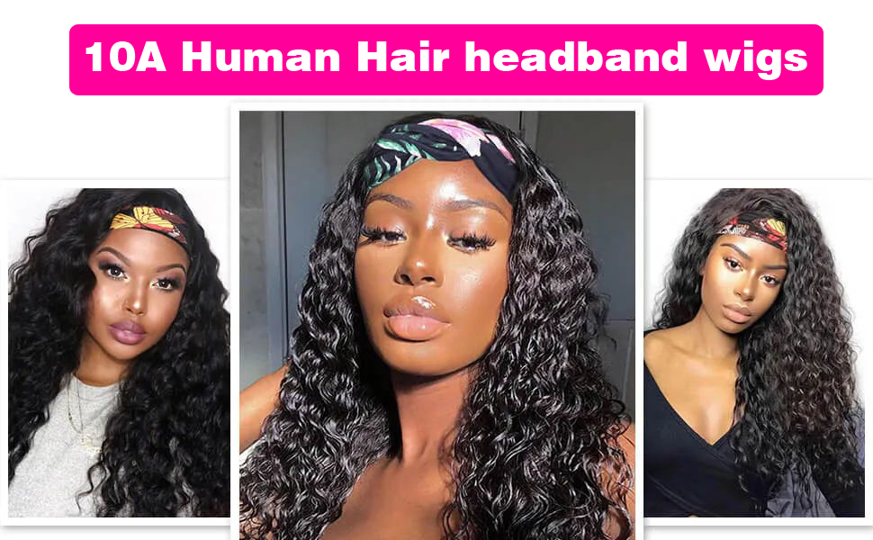 water wave headband wigs