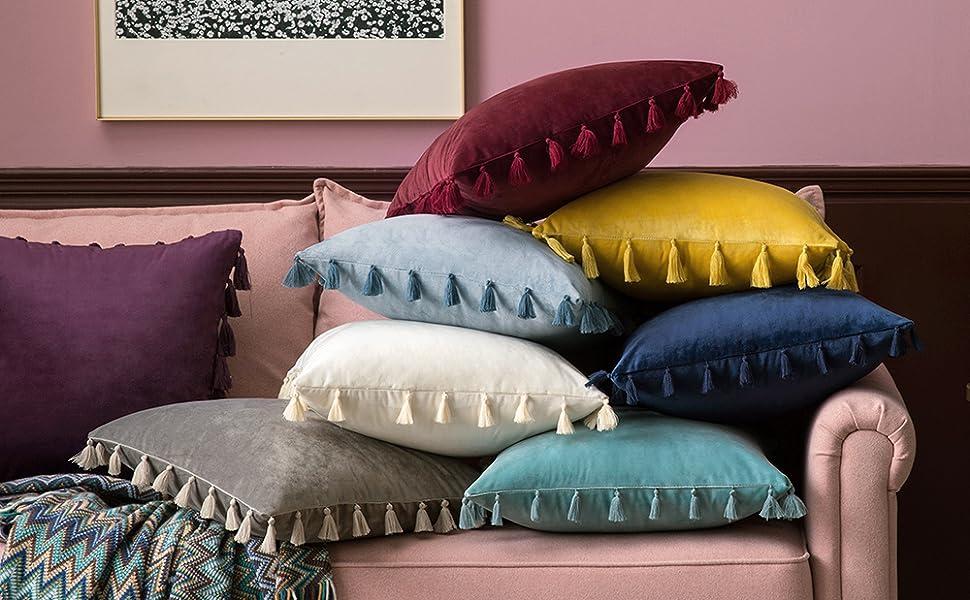 velvet pillow tassels fringe accent pillows cushion boho throw