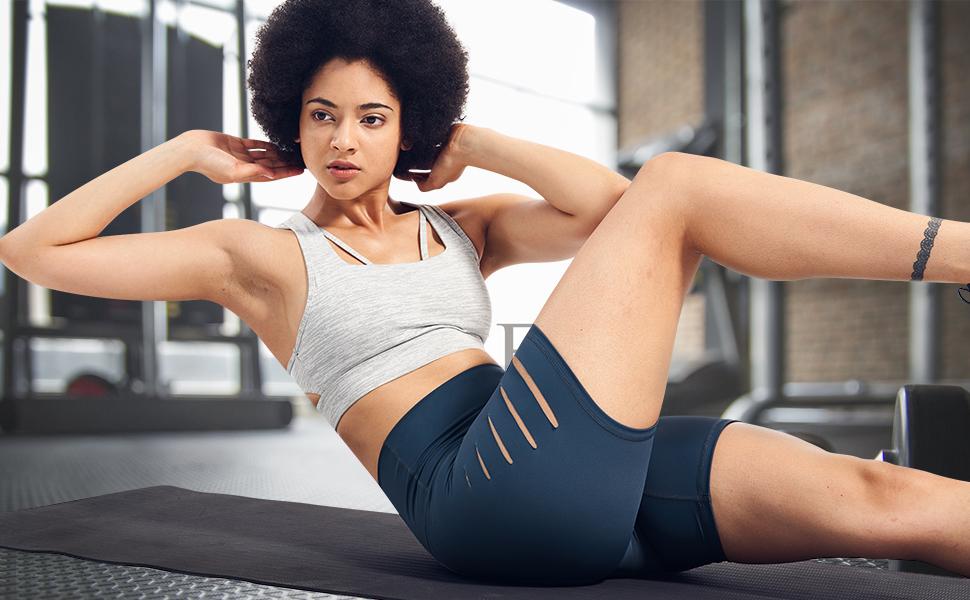 "5"" High Waist Tummy Control Yoga Workout Shorts Non See-Through"