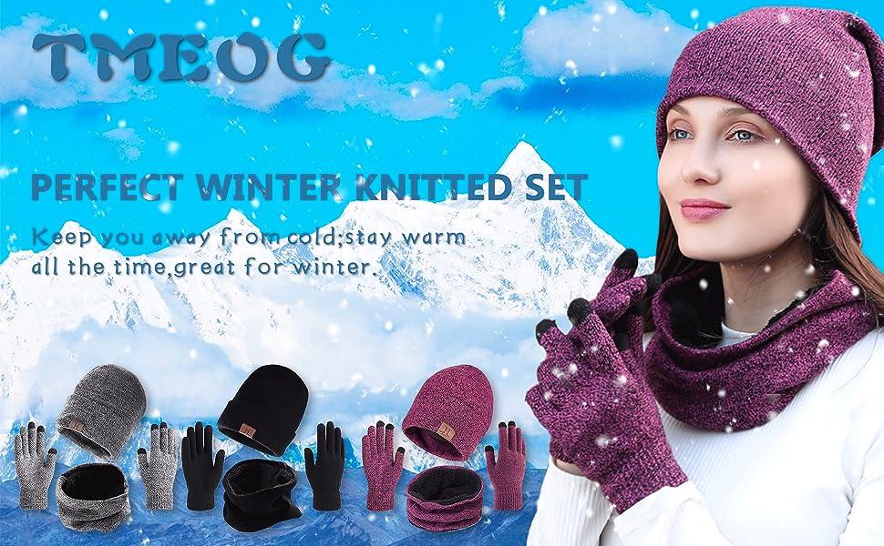 Touchscreen Handschuhe Beanie Warme M/ütze Strickm/ütze Winterschal Herren mit Fleecefutter TMEOG Winterm/ütze Herren M/ütze Schal Handschuh-Sets