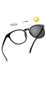 LifeArt Bifocal Reading Glasses, Transition Photochromic Dark Grey Sunglasses, Oval Frame, Computer