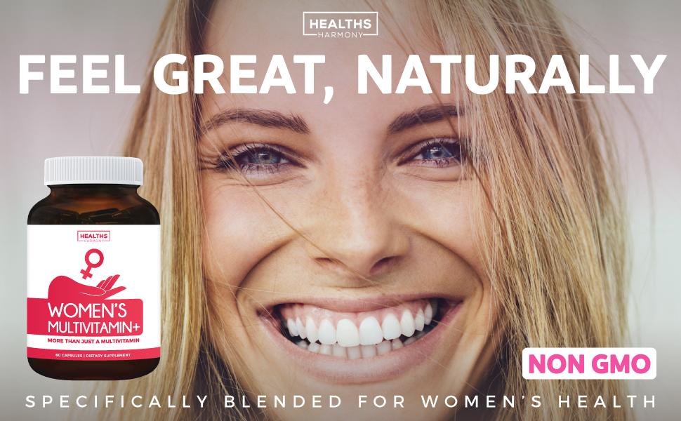 Women's Multi Vitamin with iron, biotin, zinc, magnesium - daily supplement capsules - vegetarian