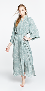 KIM+ONO Women's Crepe Kimono Robe - Kae Sage