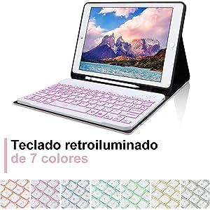 DINGRICH Funda Teclado para iPad 10.2/8 Generacion 2020/7 Generacion 2019/iPad Pro 10.5 2017/Air 3 Español Ñ 7 Colores Retroiluminados Bluetooth ...