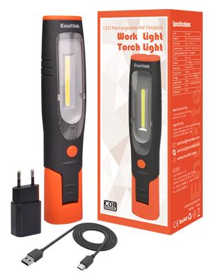 ENUOTEK Lampara Linterna de Trabajo de COB LED 4W y 3W Recargable Portatil Muy Potente con Imanes Potentes y Dos Ganchos Bateria de Litio 2600mAh