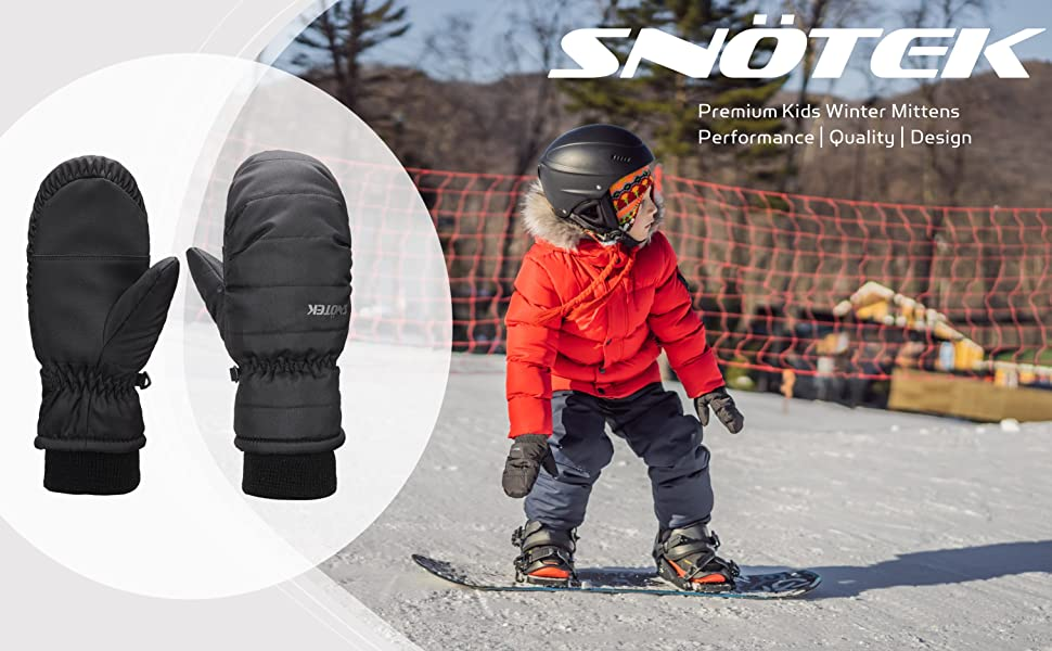 Premium Kids Winter Mittens SNOTEK Kids Winter Mitts for Ski ST322-BLUE//ORANGE, Small Snowboard