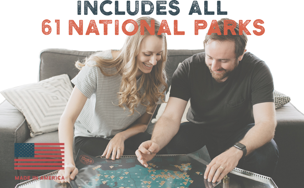 USA scratch off map includes ALL 62 US National Parks scratch off map. Made in America made in usa