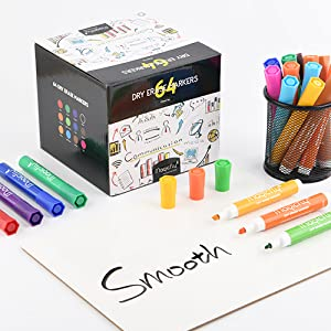 Magicfly Dry Erase Markers Bulk with Chisel Tip, Pack of 64, Low-Oder Ink 12 Colored Dry Erase Markers, Whiteboard Pens Perfect for School, Office, Home, Art Supplies