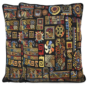 geometric colorful black ethnic tribal ornament shapes tapestry cushion cover pillows home decor