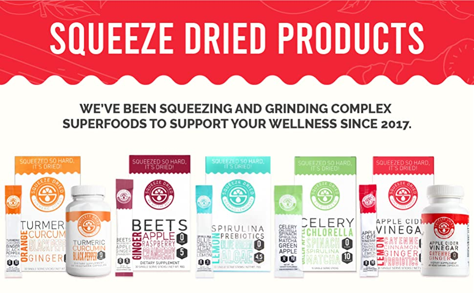 """5 Squeeze Dried products. """"Squeeze Dried Products: We've been supporting your wellness since 2017."""""""