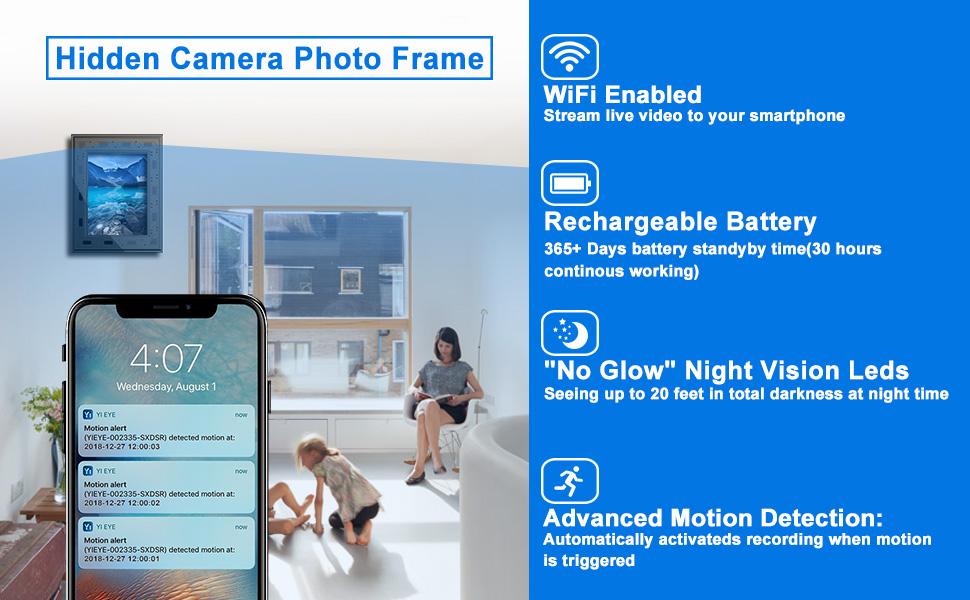 hidden security camera, security camera wireless, frame camera, spy camera wireless hidden,nanny cam