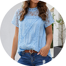 sky blue lace t shirt women