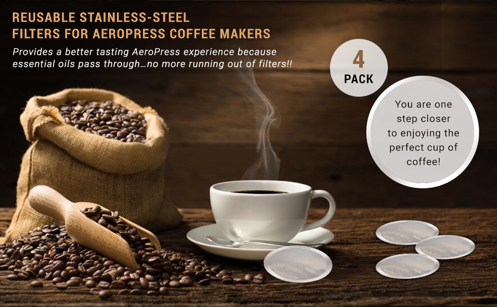 Reusable Stainless Steel Filters for AeroPress Coffee Makers