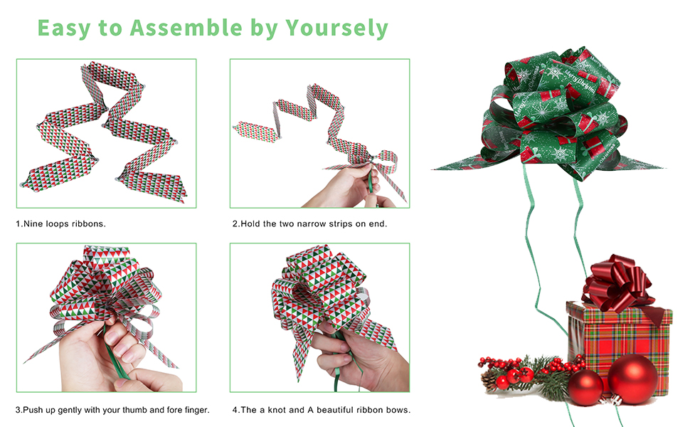 Printed Christmas Ribbon Decorations Single Face Cute Pattern Design Accessories