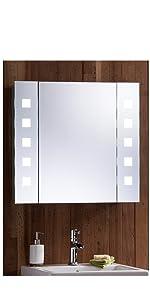 Bathroom Mirror Cabinet Lights Motion Sensor Switch LED Illuminated shaver Socket shelves demister