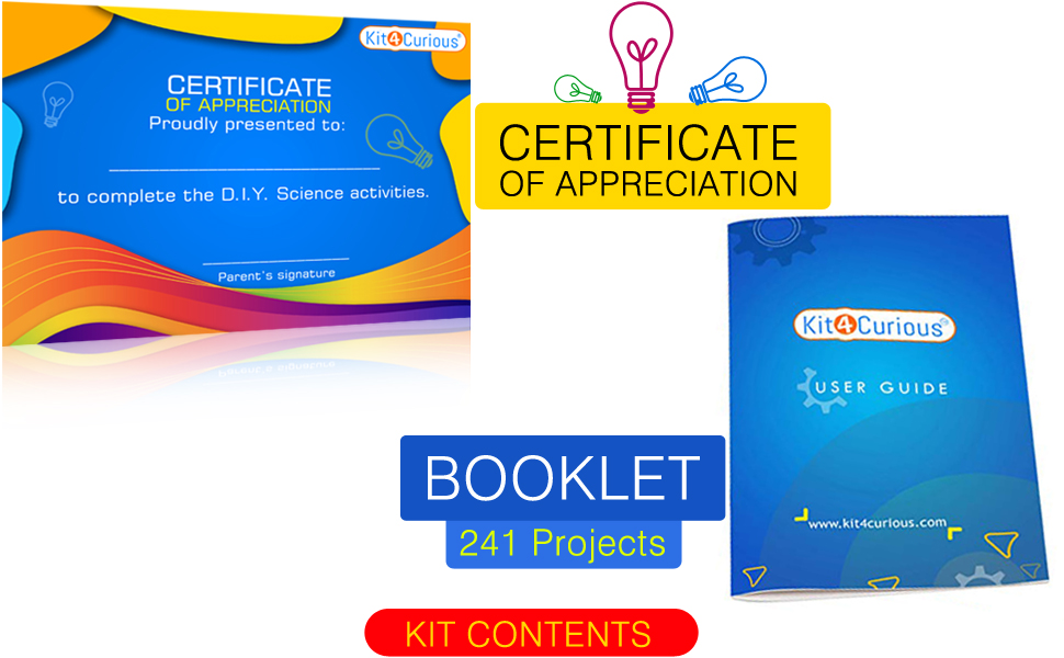 Certificate and booklet with science kit