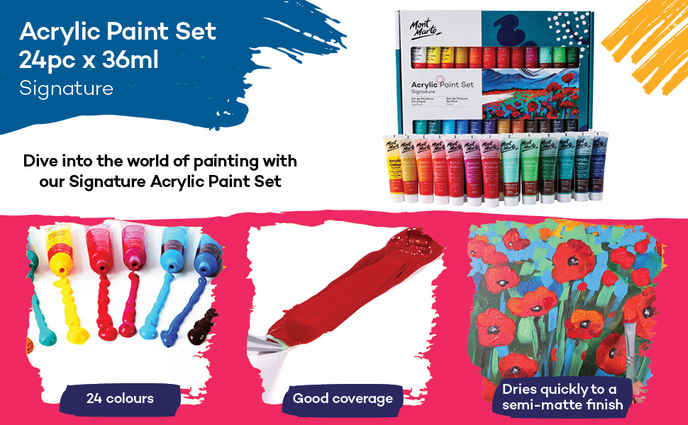 Mont Marte Acrylic Paint Set 24 Colours 36ml, Perfect for Canvas, Wood, Fabric, Leather, Cardboard,