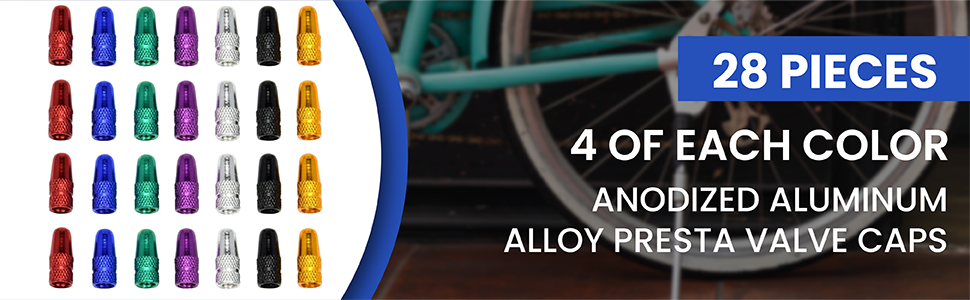 Domain Cycling Presta Valve Cap Anodized Aluminum Alloy Bicycle Bike Tire Caps Dust Covers